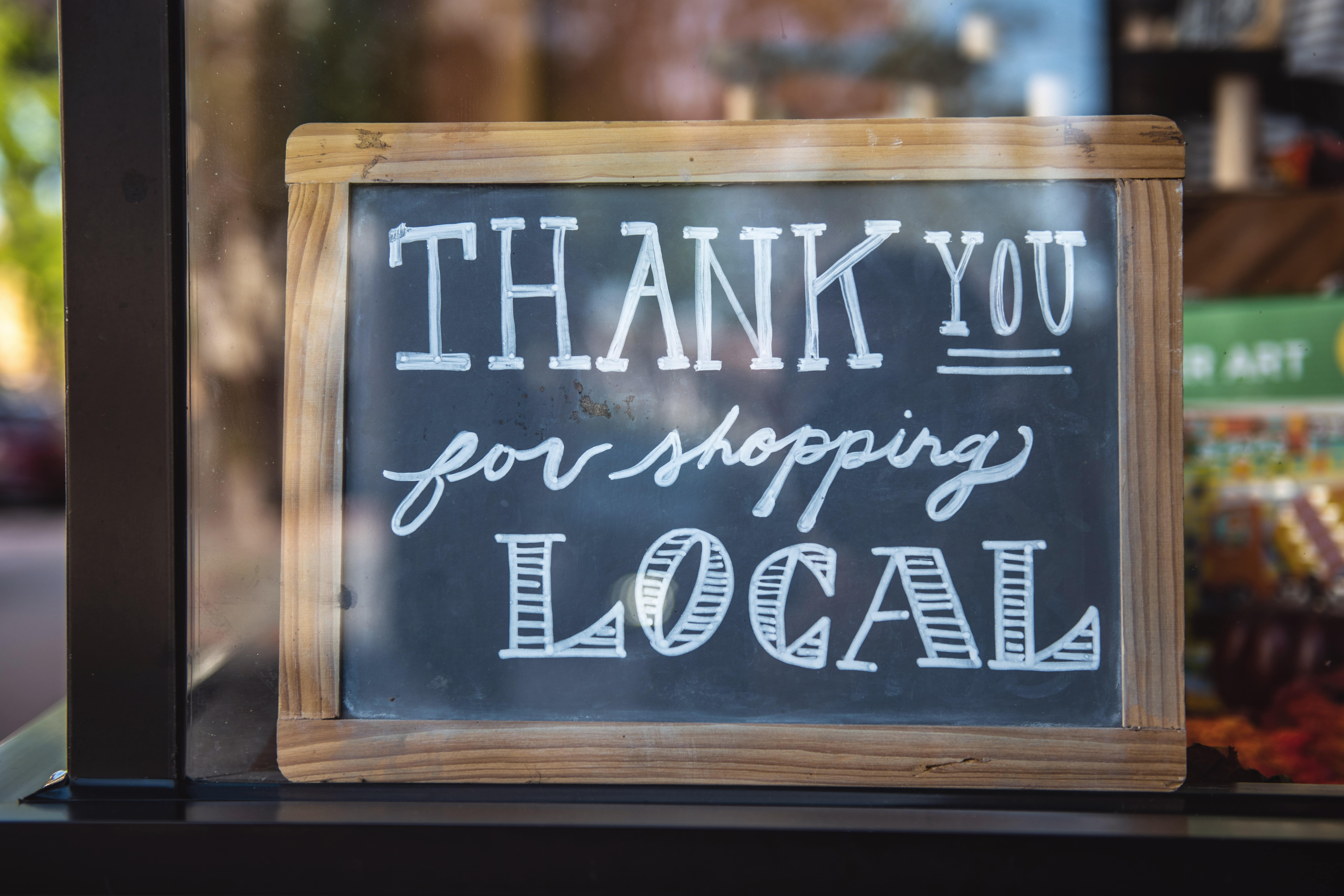 Sign in window reading Thank you for shopping local